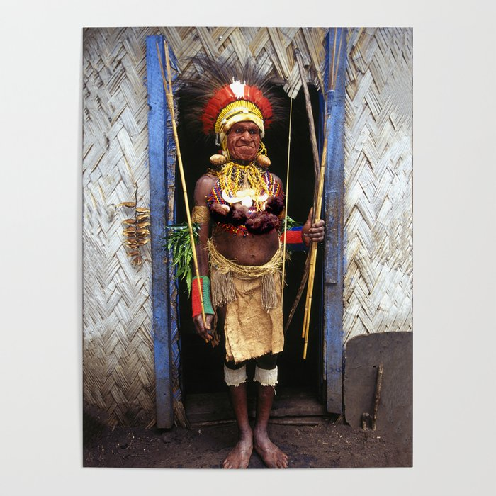 Papua New Guinea Chief in Hut Doorway Poster