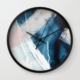 Forward: a pretty minimal abstract piece in pink blue and white by Alyssa Hamilton Art Wall Clock
