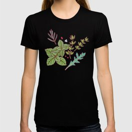 dark herbs pattern T-shirt