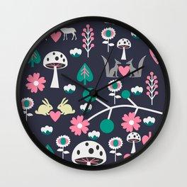 Romantic little animals Wall Clock