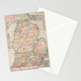 Vintage Map of Michigan (1857) Stationery Cards