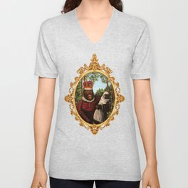 Monkey Queen with Pug Baby Unisex V-Neck