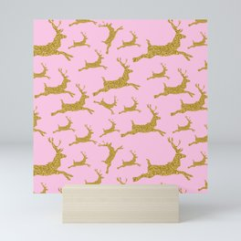 Golden Reindeer Merry Christmas Xmas Holiday Pink Mini Art Print