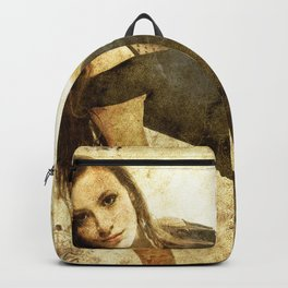 bella ragazza su fondo steampunk vintage Backpack