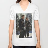 peggy carter V-neck T-shirts featuring Jack Thompson & Peggy Carter. by agentcarter23