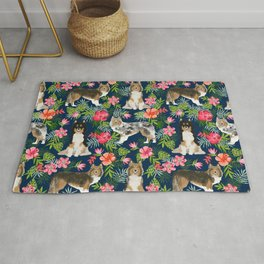 Shetland Sheepdog sheltie tropical florals floral dog breed pattern gifts for dog lover Rug