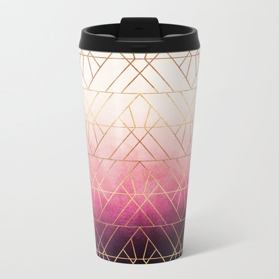 Pink Ombre Triangles Metal Travel Mug