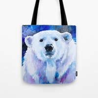 polar bear Tote Bags featuring Polar bear  by Slaveika Aladjova
