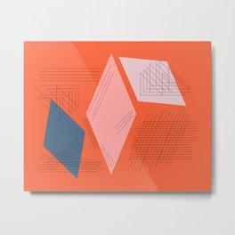 Mid Century Mod in Orange Metal Print