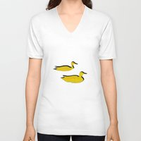 ducks V-neck T-shirts featuring Ducks by Brontosaurus