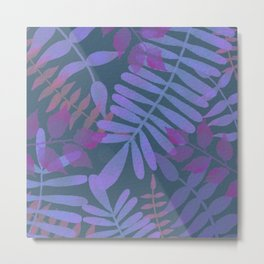 Simple purple jungle scene with dark background  Metal Print