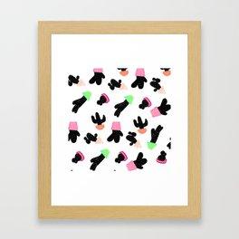 Modern back white cactus pattern pastel boho pots Framed Art Print