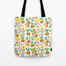 Cute Bumblebee Ladybug Butterfly Garden Pattern Tote Bag