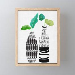 Tribal Vases II with Tropical Greenery Framed Mini Art Print