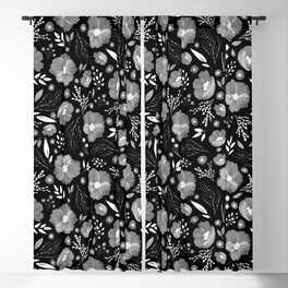 Whimsical Night Floral Pattern Blackout Curtain
