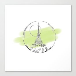 paris in a glass ball . green pastel colors Canvas Print