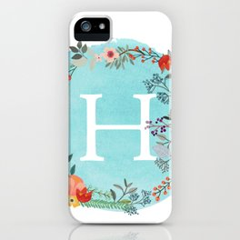 Personalized Monogram Initial Letter H Blue Watercolor Flower Wreath Artwork iPhone Case