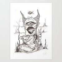 two horned single eyed illuminated god Art Print