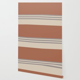 Slate Violet Gray SW9155 and Creamy Off White SW7012 Horizontal Stripes on Cavern Clay SW 7701 Wallpaper