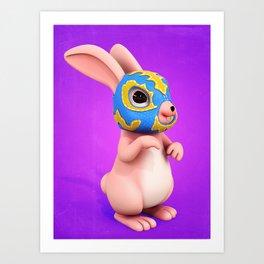 Lucha Rabbit-Pink Sister Art Print