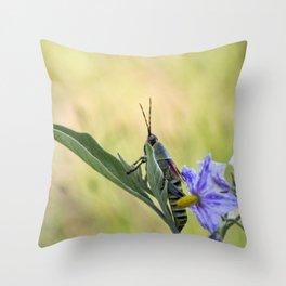 grasshopper flower Throw Pillow