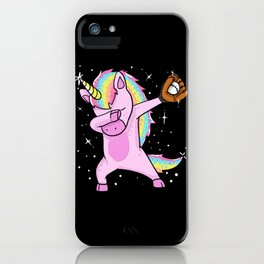 Dabbing Softball Unicorn iPhone Case