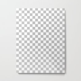 White and Gray Checkerboard Metal Print