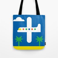 airplane Tote Bags featuring Airplane by Alberto Antoniazzi