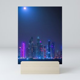Neon City Cyberpunk Night Skyline Photograph Mini Art Print