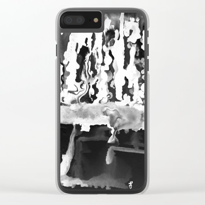 Dripping Tease in White and Black Clear iPhone Case