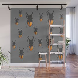 NATURE LOVERS STAG HORNED BEETLES BUG GREY ART M Wall Mural