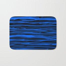 Slate Blue and Light Aqua Blue Stripes Bath Mat