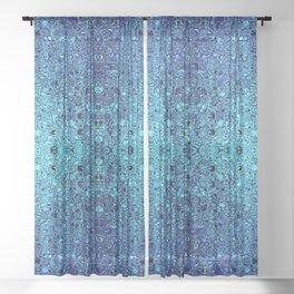Deep blue glass mosaic Sheer Curtain