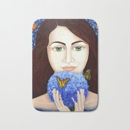 The woman who talk with butteflies Bath Mat