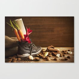 Shoe with carrots, for traditional Dutch holiday 'Sinterklaas' Canvas Print