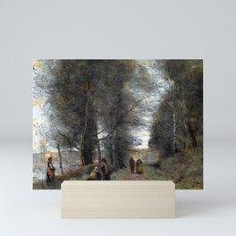 Jean-Baptiste-Camille Corot Ville d'Avray, Woodland Path Bordering the Pond Mini Art Print