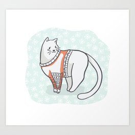 Christmas Cat in Embroidery Sweater Clipart, Hand Drawn Cat Lover Art Print