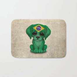 Cute Puppy Dog with flag of Brazil Bath Mat