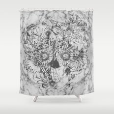 Bookmatched Marble Skull Shower Curtain