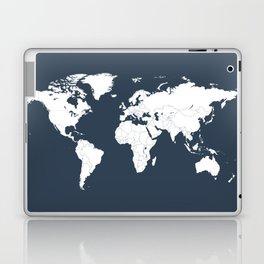 Minimalist World Map in Navy Blue Laptop & iPad Skin