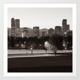 Denver Rocky Mountain Skyline - Classic Sepia Art Print