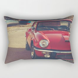 Triumph spitfire, english car by the beach in italy, old car and a boat, for man cave decor Rectangular Pillow