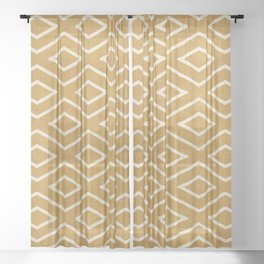 Stitch Diamond Tribal in Gold Sheer Curtain