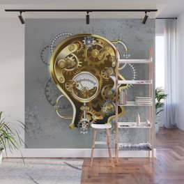 Steampunk Head with Manometer Wall Mural