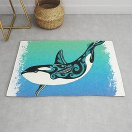 Dancing Orca Whale Ink Teal Rug