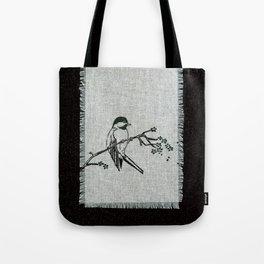 chickadee on a perch Tote Bag