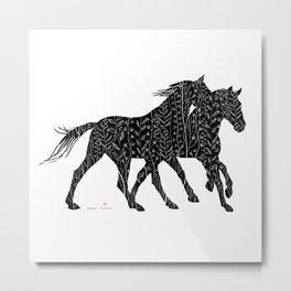 Black&White Horses Metal Print