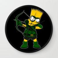 green arrow Wall Clocks featuring Arrow by Betmac