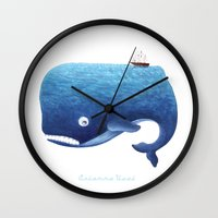moby dick Wall Clocks featuring Moby Dick by Arianna Usai