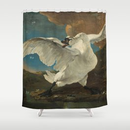 The threatened swan - Jan Asselijn (1650) Shower Curtain